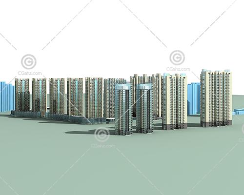 现代简单的高层住宅小区模型下载