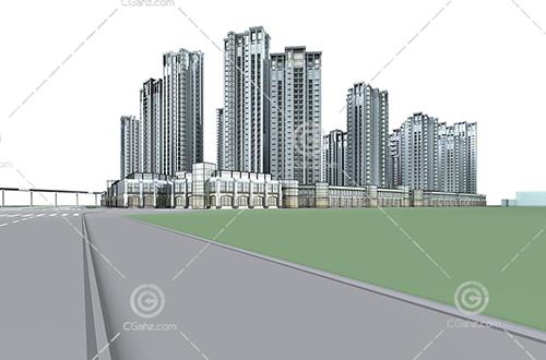 现代沿街的高层住宅小区3D模型下载