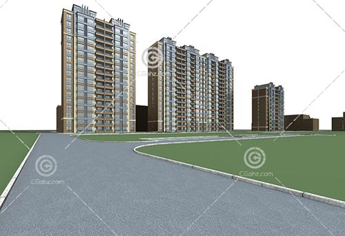 横排的现代高层住宅小区3D模型下载