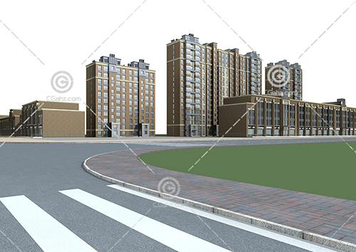 沿街的中高层住宅小区3D模型下载