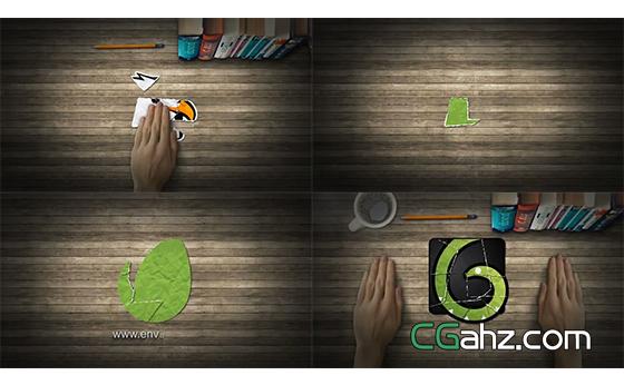 用手在桌面上将碎片拼成标志AE模板