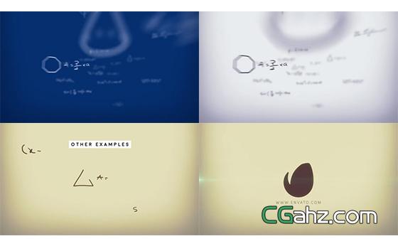 数学公式汇聚揭示出logo标志的AE模板