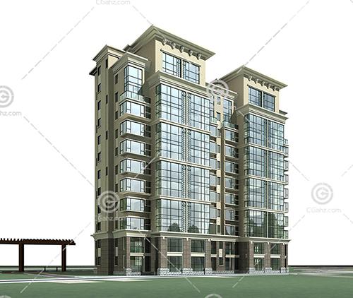 横排独栋多层住宅3D模型下载