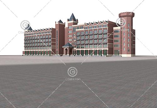 欧式横排多层住宅3D模型下载