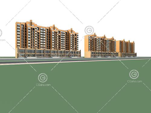 横排多层住宅小区3D模型下载
