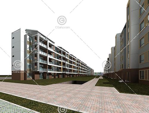 简单的横排多层住宅小区3D模型下载