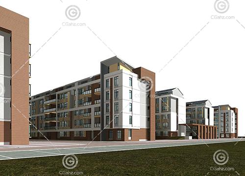 现代简洁的多层住宅小区3D模型下载