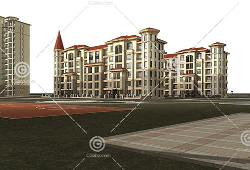 欧式多层住宅小区3D模型下载