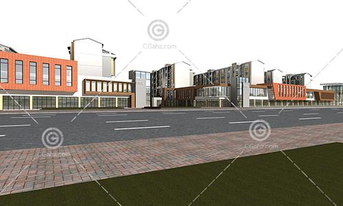 现代商业街多层住宅小区3D模型下载