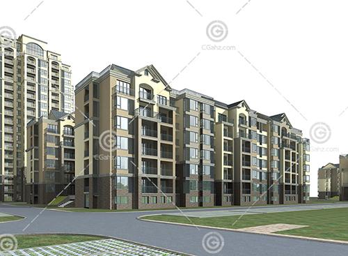 多层高层住宅组合小区3D模型下载