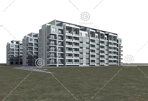 现代多层住宅小区3D模型下载