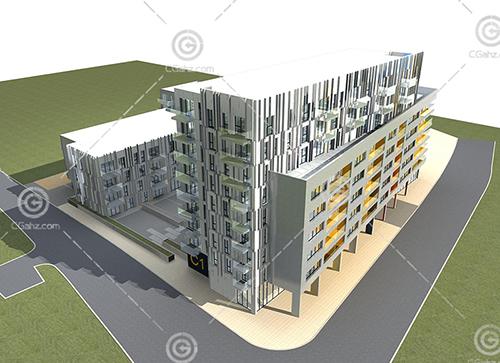现代简单的多层住宅3D模型下载