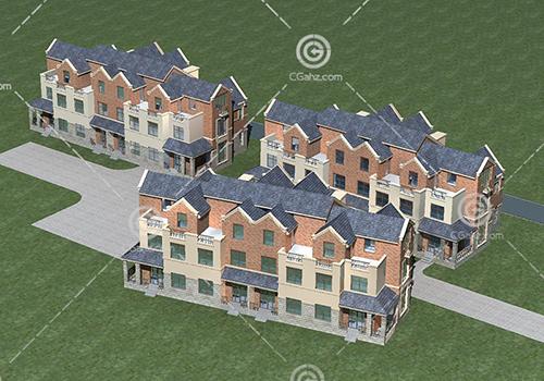 横排多层住宅小区模型下载