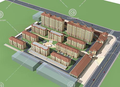 简单的欧式多层住宅小区3D模型下载