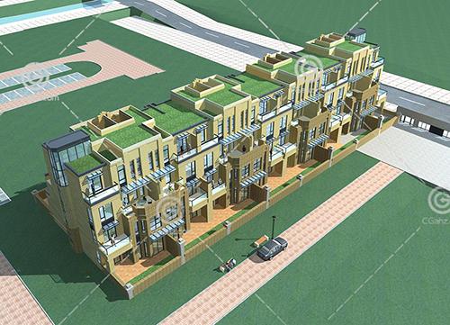 现代横排多层住宅3D模型下载