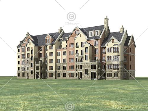 横排的多层住宅3D模型下载