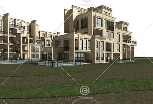 新式多层住宅区3D模型下载