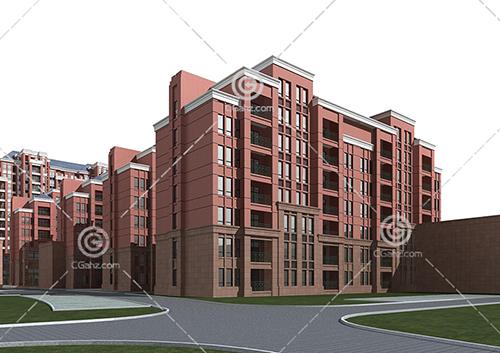 结构简单的多层住宅小区3D模型下载