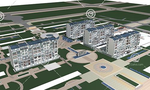 简单的中式多层住宅小区3D模型下载