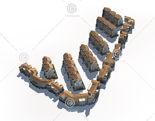 中式沿街多层住宅小区3D模型下载