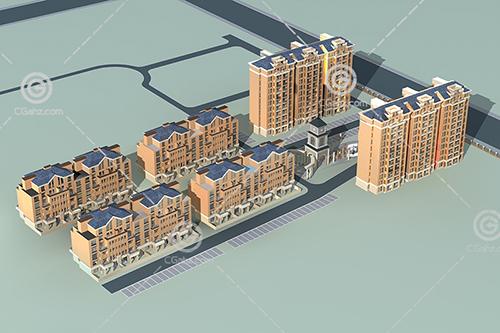 欧式多层高层组合住宅小区3D模型下载