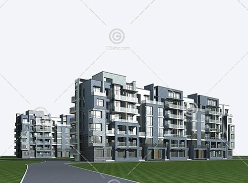 简单的多层住宅楼小区3D模型下载