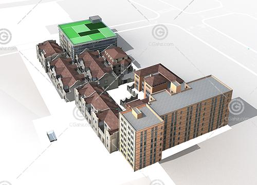 不同建筑组合的多层住宅小区3D模型下载