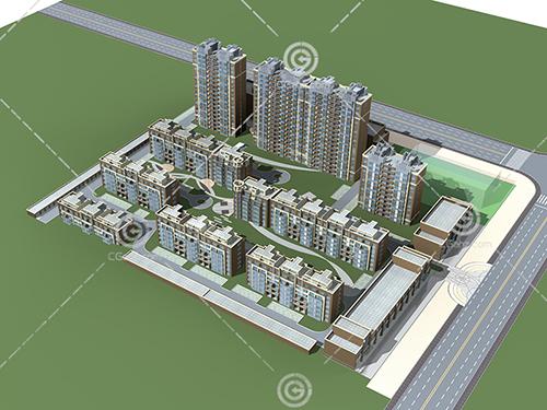 街边的多层高层组合住宅小区3D模型下载