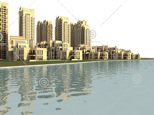 河边的多层高层住宅组合小区3D模型下载