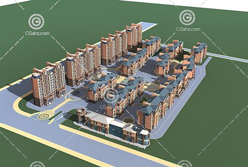 现代多层高层组合住宅小区3D模型下载