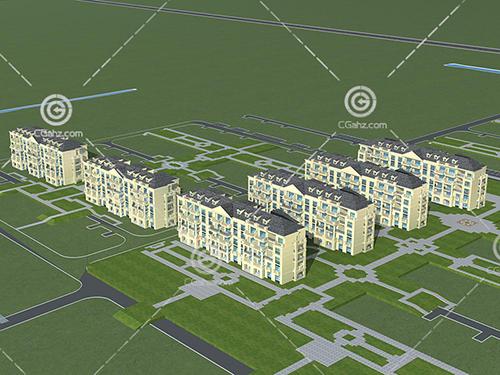 欧式多层住宅3D模型下载
