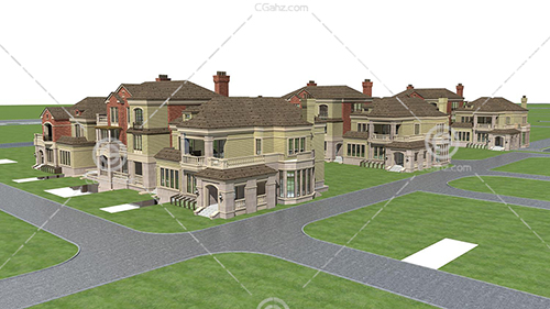 欧式的别墅小区3D模型下载