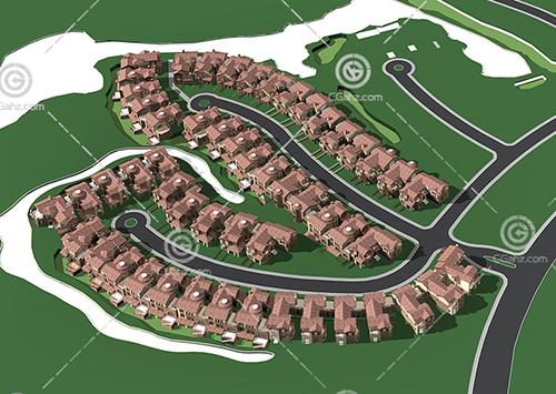 紧密排列的别墅区3D模型下载