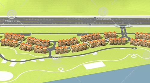 弧形排列的别墅区3D模型下载