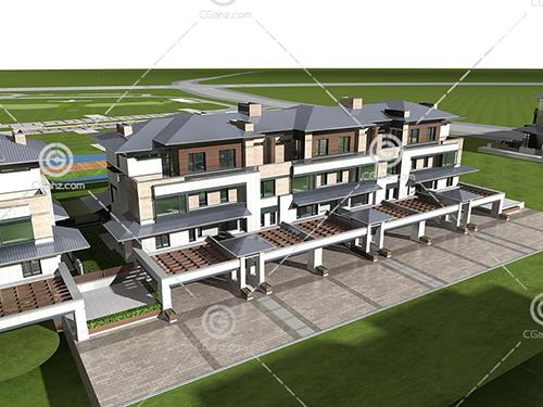 现代连排别墅3D模型下载