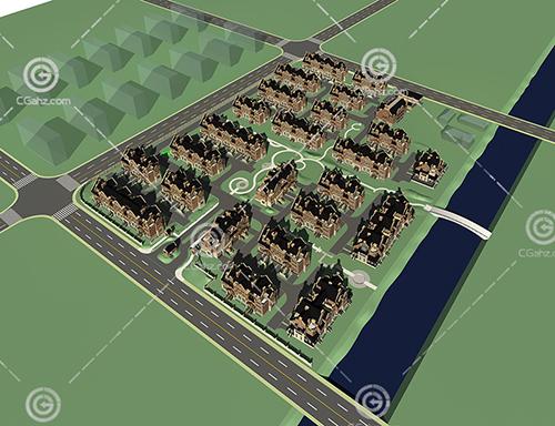 欧式多层住宅小区模型下载