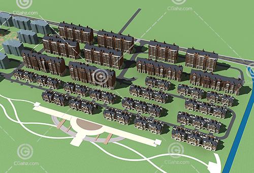 多层住宅排屋组合3D模型下载
