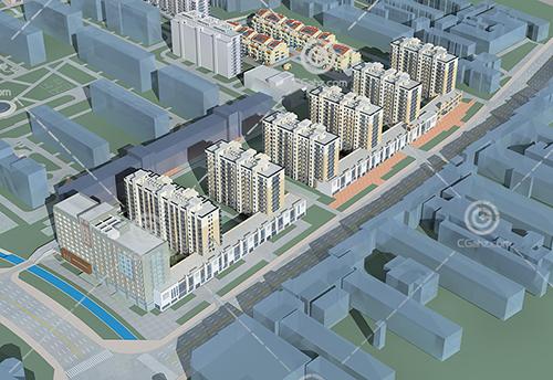 沿街的高层多层组合住宅3D模型下载