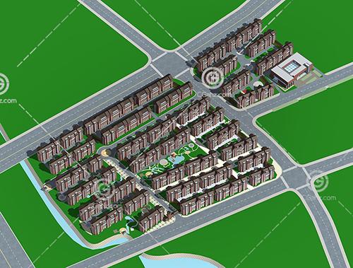 简单的安置小区3D模型下载