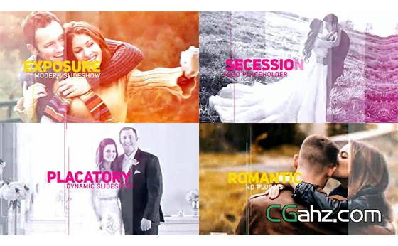 婚礼或爱情主题的内容展示效果AE模板