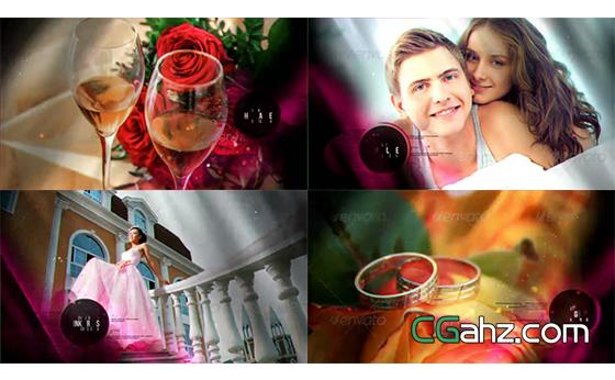 可用于婚禮展示的粒子裝飾幻燈片AE模板