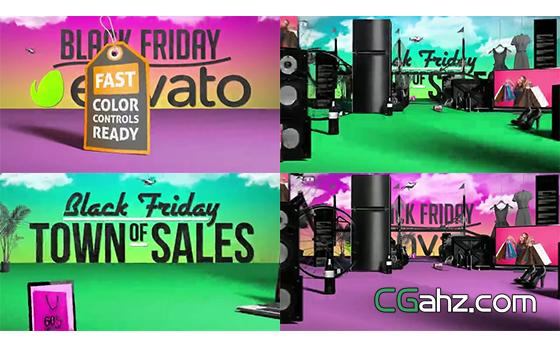 黑色星期五购物节宣传开场动画AE模板