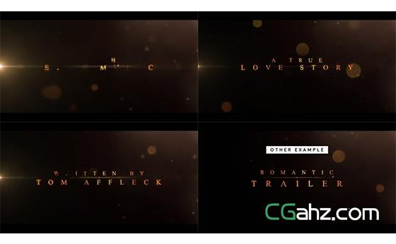 图文交错展示的浪漫爱情电影预告片AE模板