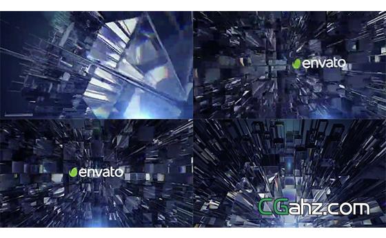 三维玻璃柱子中的标志展示开场AE模板