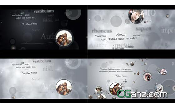 多个圆形小图像用线条进行连接展示AE模板