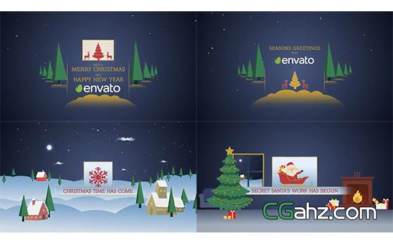 模拟视差效果的卡通风格圣诞节开场小动画AE工程