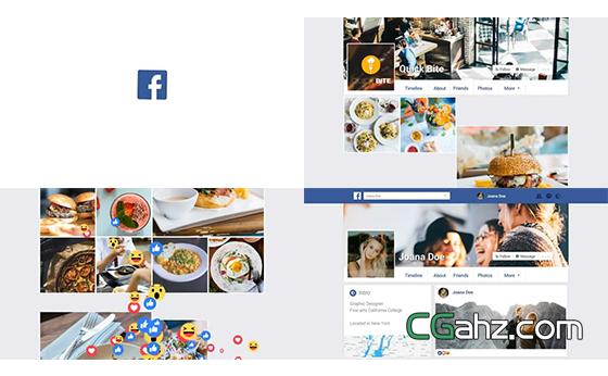 简单的脸书等社交博客宣传片AE模板