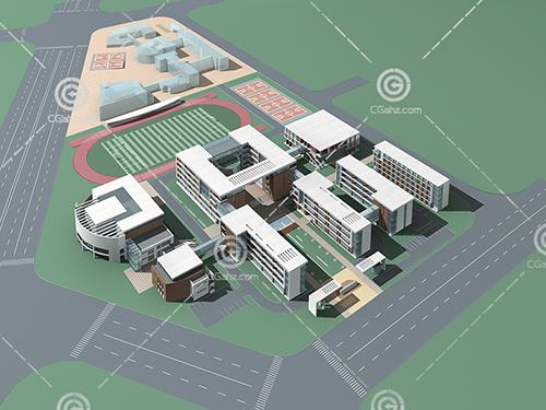 現代簡單的學校3D模型下載
