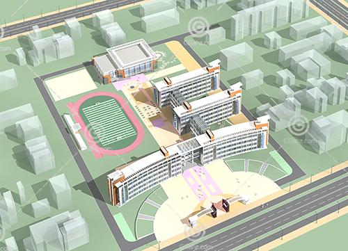 現代簡潔的學校3D模型下載