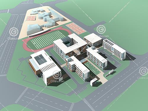 簡單帶有操場的學校3D模型下載